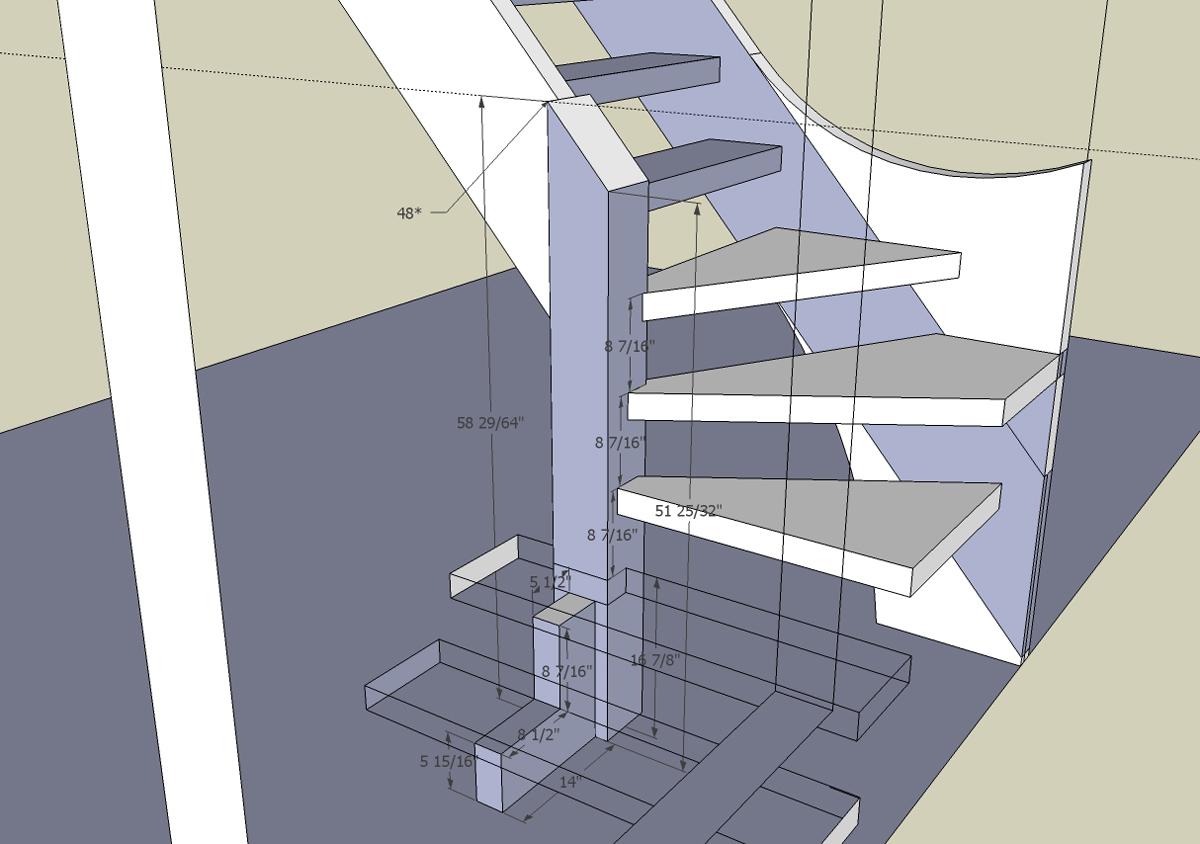 dessin cotations escalier